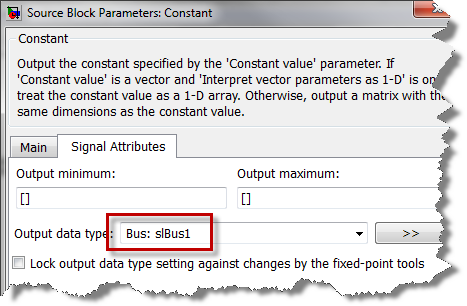 Configuring a Constant block to output a bus