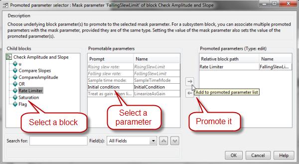Promoted parameter selector dialog box