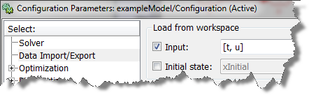 Configuring a model to Imprt data from workspace