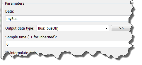 Configuring the From Workspace block to import bus data