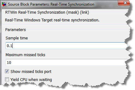 Dialog of the Real Time Synchronization block
