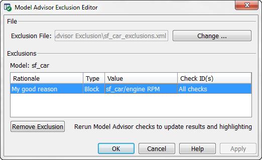 Model Advisor Exclusion Editor
