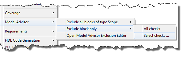Excluding a block from Model Advisor Analysis
