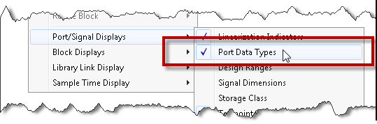 Displaying port data types
