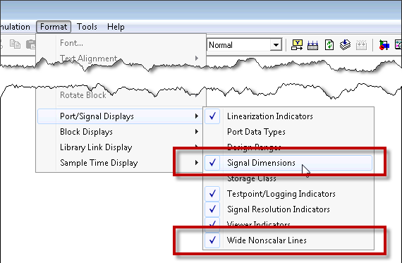 Displaying signal dimensions