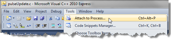 Attaching a process in Visual Studio.
