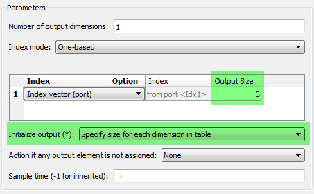 Assignment block dialog, Specify size for each dimension in table