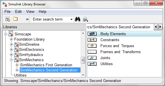 SimMechanics Second generation in Simulink Library Browser