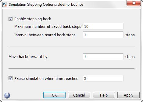 Stepper configuration dialog