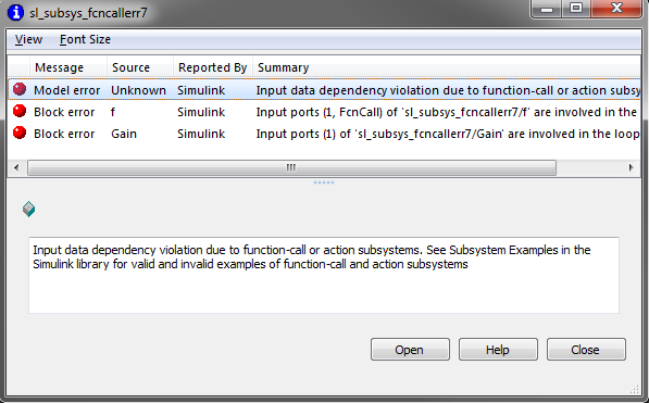 Input data dependency violation due to function-call or action susbsystems.  See Subsystem Examples in the Simulink library for valid and invalid examples of function-call and action subsystems.