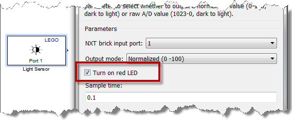 Dialog of the LEGO Light Sensor driver block