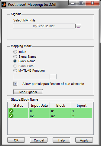 The Root Inport Mapping Dialog