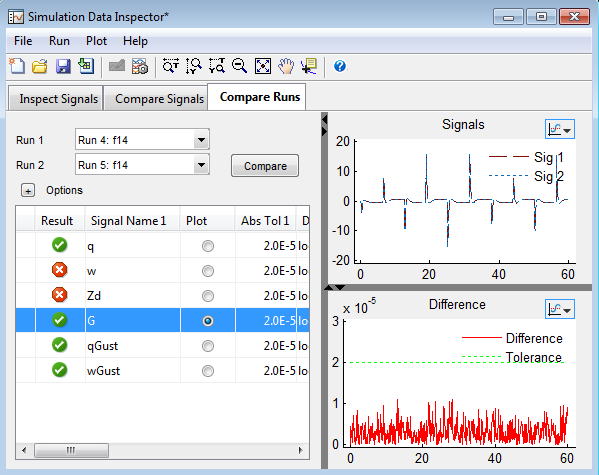 Comparing Runs in Simulation Data Inspector