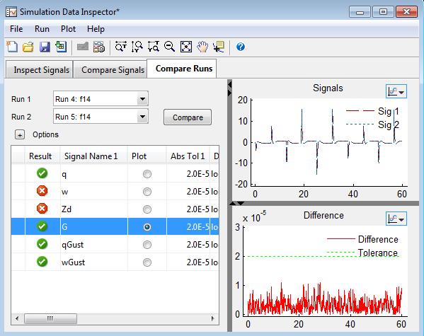 Comparing Runs in Simulation Data Inspector