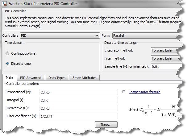 PID block configuration