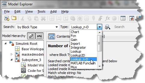 Finding blocks using the Model Explorer