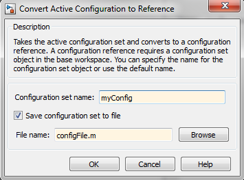 Specifying the name and file of the configuration set