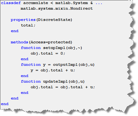 Example System Object using outputImpl and updateImpl to implement an accumulator.