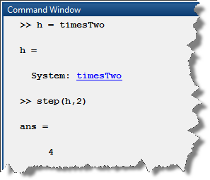 Simple System Object used in MATLAB