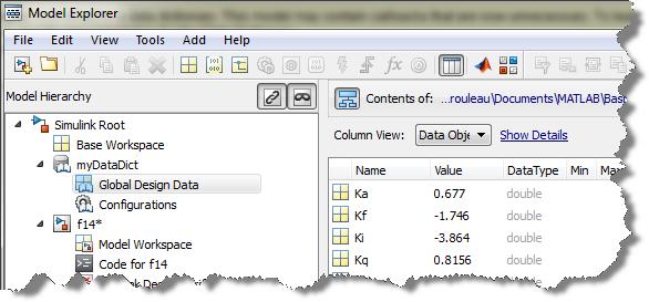 Simulink Data dictionary