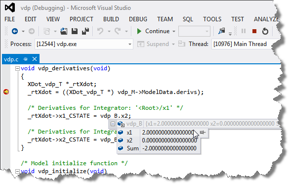 Debugging a Simulink Coder generated executable in Microsoft Visual Studio