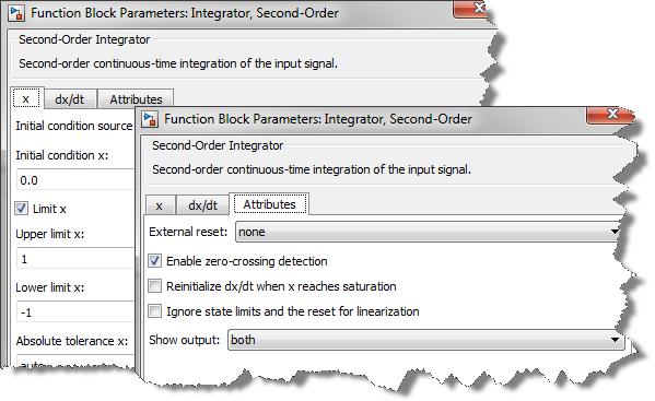 Second Order Integrator dialog