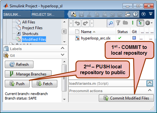 Publishing changes from Simulink Projects