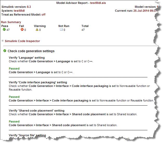 Code Inspector Model Advisor Report