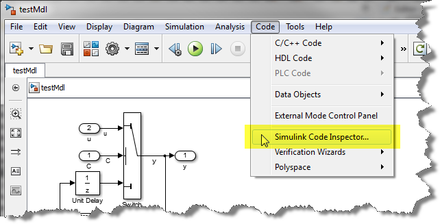 Launching Simulink Code Inspector