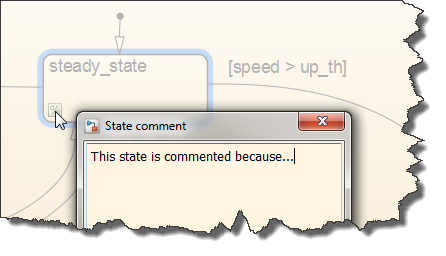 Adding a note to a commented Stateflow object