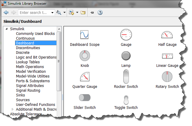 Dashboard in the Simulink Library Browser