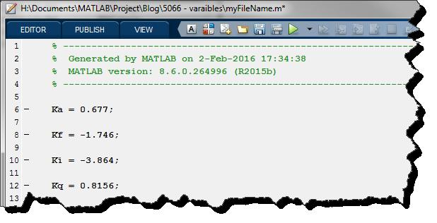 File storing variables