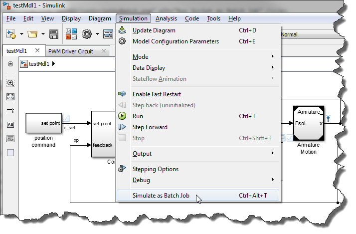 Simulink as Batch Job menu