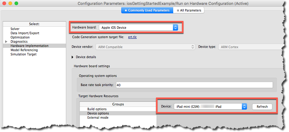 Model Configuration for iPad target