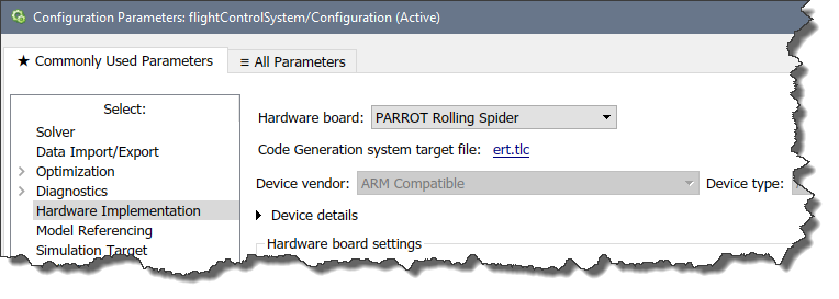 Configure the model for Parrot drone