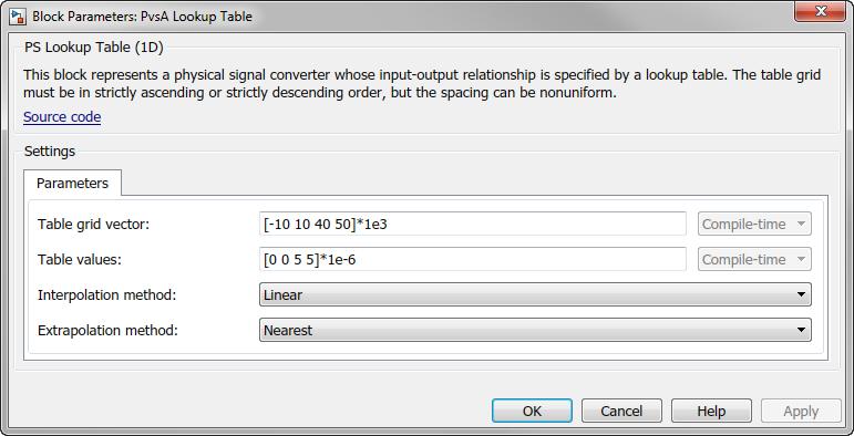 Lookup Table Parameters