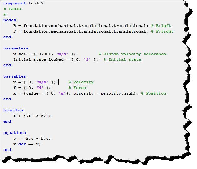 Simscape code