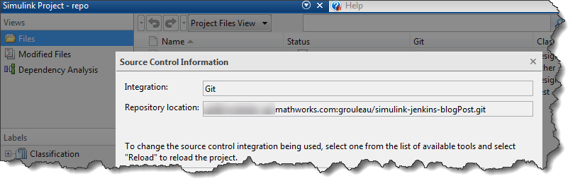 Source Control Integration in Simulink Project