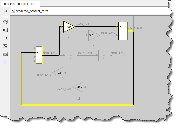 Loop highlighted using Simulink.BlockDiagram.getAlgebraicLoops