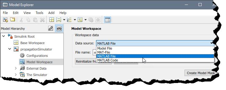 Model Workspace setup in Model Explorer