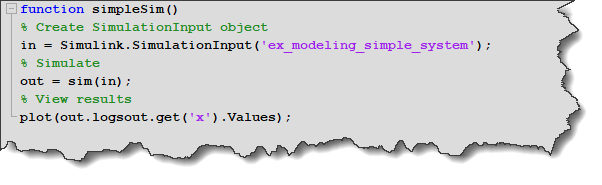 MATLAB Function simulating the model