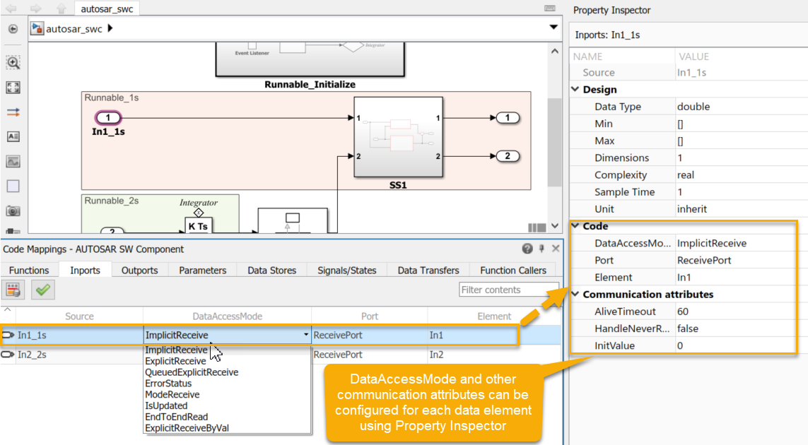 Configuring a Simulink mdel for AUTOSAR