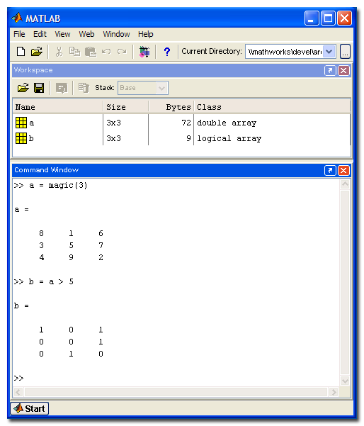 Generate binary matrix matlab