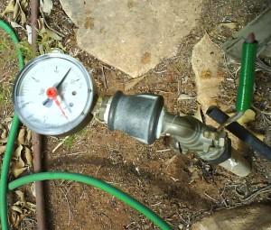 Gauge showing water pressure
