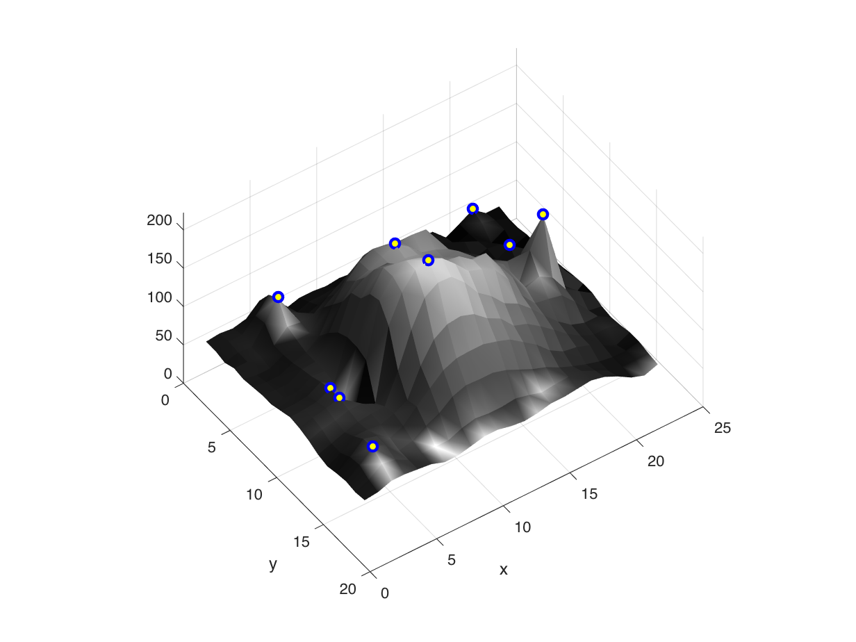 Peaks, Peak Filtering, and Gray-Scale Weighted Centroids
